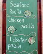 Exterior menu cartel in Barcelona - Spain Stock Photos