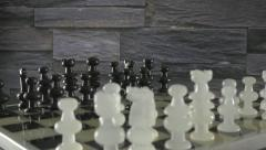 4K Black Pieces Board Chess  Vertical Pan - stock footage