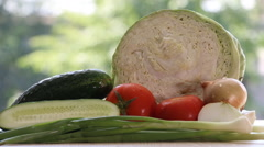 Fresh vegetables are on the table. Stock Footage