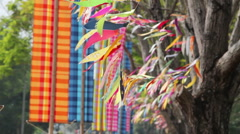 Pray flag, a kind of holy symbol or festival in buddhism culture. Stock Footage