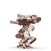 Sci fi robot dirt gold on white background Stock Illustration