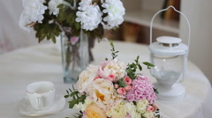 Wedding bouquet of pink roses and peony Stock Footage