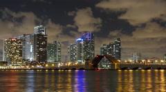 Night miami  downtown drawbridge traffic panorama 4k time lapse florida usa - stock footage