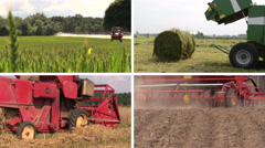Field spray. Sodder bales. Harvesting. Fertilize. Clips collage Stock Footage
