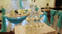 Pyramid champagne martini glasses at wedding Stock Footage