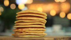 Stacking homemade pancakes, full HD Stock Footage