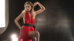 Stock Video Footage of Fashion model during a photo shoot posing