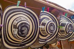 Traditional Colombian handmade hats sombrero vueltiao or volteado from street Stock Photos