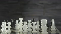 4K Panning Around Chess Game Pieces On Board - stock footage