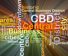 Central business District CBD background concept glowing - stock illustration