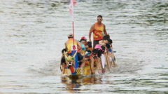 Slow Motion Dragon Boat Races in Hong Kong Stock Footage