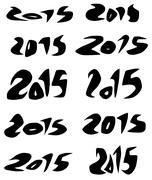 2015 date in black organic fluid fonts over white Stock Illustration