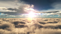 Fly over clouds sunset Stock Footage