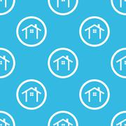 Cottage sign blue pattern - stock illustration