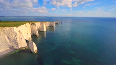 Old Harry rock, Studland Bay, Dorset, UK Stock Footage