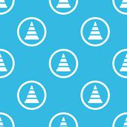 Stock Illustration of Traffic cone sign blue pattern