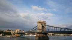 The Széchenyi Chain Bridge in Budapest Stock Footage