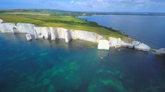 Old Harry Rocks cliffs South England Stock Footage