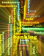 Banking multilanguage wordcloud background concept glowing Stock Illustration