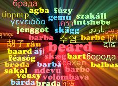 Beard multilanguage wordcloud background concept glowing Stock Illustration