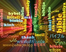 Bible multilanguage wordcloud background concept glowing - stock illustration