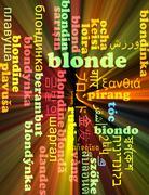 Blonde multilanguage wordcloud background concept glowing - stock illustration