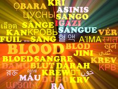 Blood multilanguage wordcloud background concept glowing - stock illustration