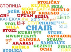 Chair multilanguage wordcloud background concept Stock Illustration