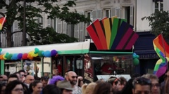 Gay Parade Paris, France - 60fps Stock Footage