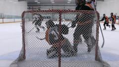 Ice Hockey Match - Teen Boys - 04 - Goaltender Play Stock Footage