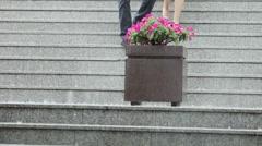 Rain on granite stairs Stock Footage