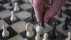 4K Queen Takes King Checkmate Glass Chess Game Stock Footage
