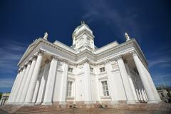 Finnish Evangelical Lutheran cathedral on the Senate square of Helsinki - stock photo