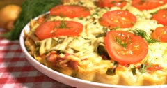 Italian pizza with meat, tomatoes ,dill and double cheese Stock Footage