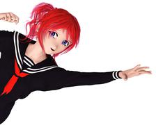 Japanese Manga high school girl - stock illustration