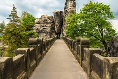 Stock Photo of Bastei bridge in Saxon Switzerland in summer, Germany