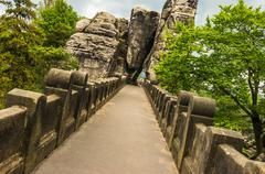 Stock Photo of Bastei bridge in Saxon Switzerland in summer, Germany