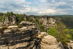 Beautiful view of rocks near bridge Bastei in Saxon Switzerland, Germany - stock photo