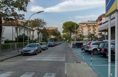 Lido di Jesolo street to sea beach, Adriatic sea, venetian Riviera Stock Photos