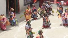 Tibetan monk in mystical mask, ritual dance. Lamayuru Monastery, Ladakh, India Stock Footage