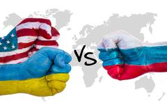 Fists world powers USA, Ukraine and Russia vying with each other - stock photo