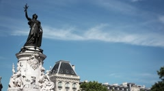 Place Republique Monument, Establishing Shot Paris - France Stock Footage