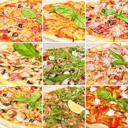 Various pizza collage Stock Photos