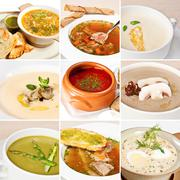 First courses collage - stock photo