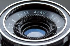 Closeup of old retro viewfinder camera - stock photo