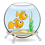 Stock Illustration of couple goldfish in an aquarium with caviar