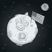 astronaut whith flag USA on the moon BW - stock illustration