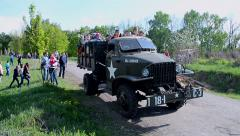 Studebaker transportation, Military History Festival in Kiev, Ukraine. Stock Footage