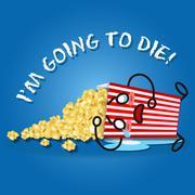 Crying cartoon on popcorn box spilling popcorn Stock Illustration