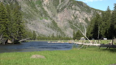 Yellowstone nature river meadow mountain park road 4K 001 Stock Footage
